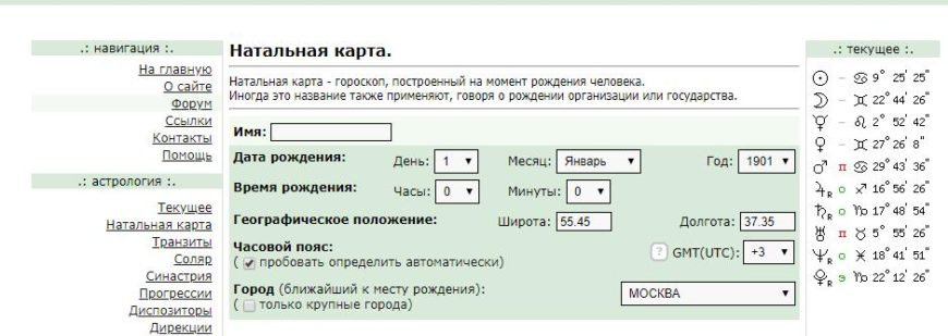 Бесплатные натальные карты онлайн с расшифровкой