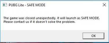 Ошибка при запуске Pubg Lite в Safe mode