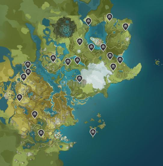 Карта всех усыпальниц в игре